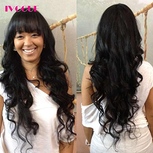 iVogue Hair Long Lace Front Human Hair Wigs with Bangs Virgin Brazilian Hair Body Wave Glueless Human Hair Full Lace Front Wig with Baby Hair for Black Women (18inch)