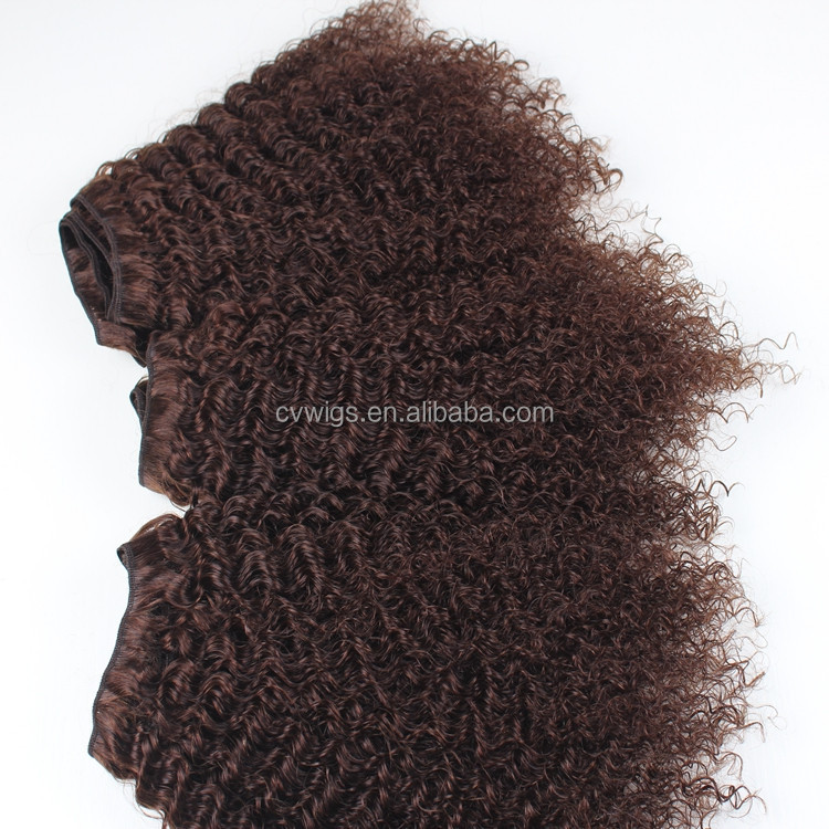 Popular style comb out colored brazilian human hair sew in weave kinky curly hair