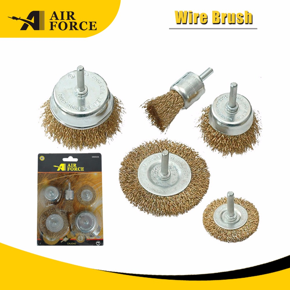 5 PIECES Steel Wire Brush Shaft-cup wire brush drill wire brushes