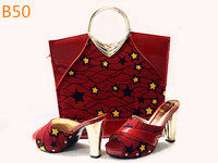 2016 latest design ladies shoes and matching bags red color