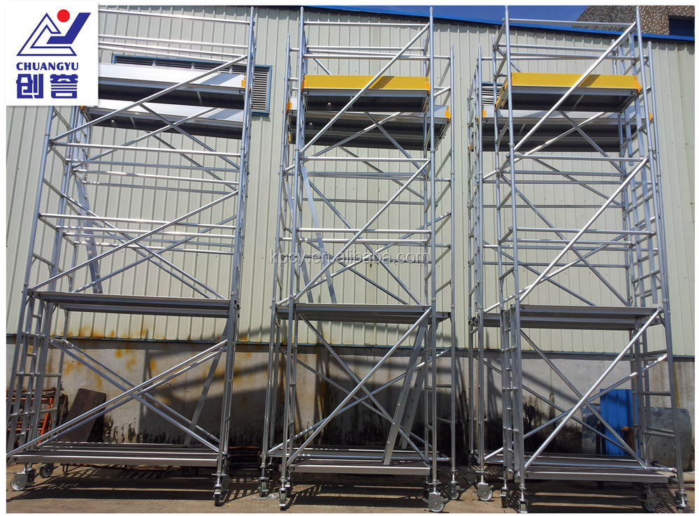 Indoor Scaffolding Max Height : Aluminium mobile scaffold tower with stair ladder for