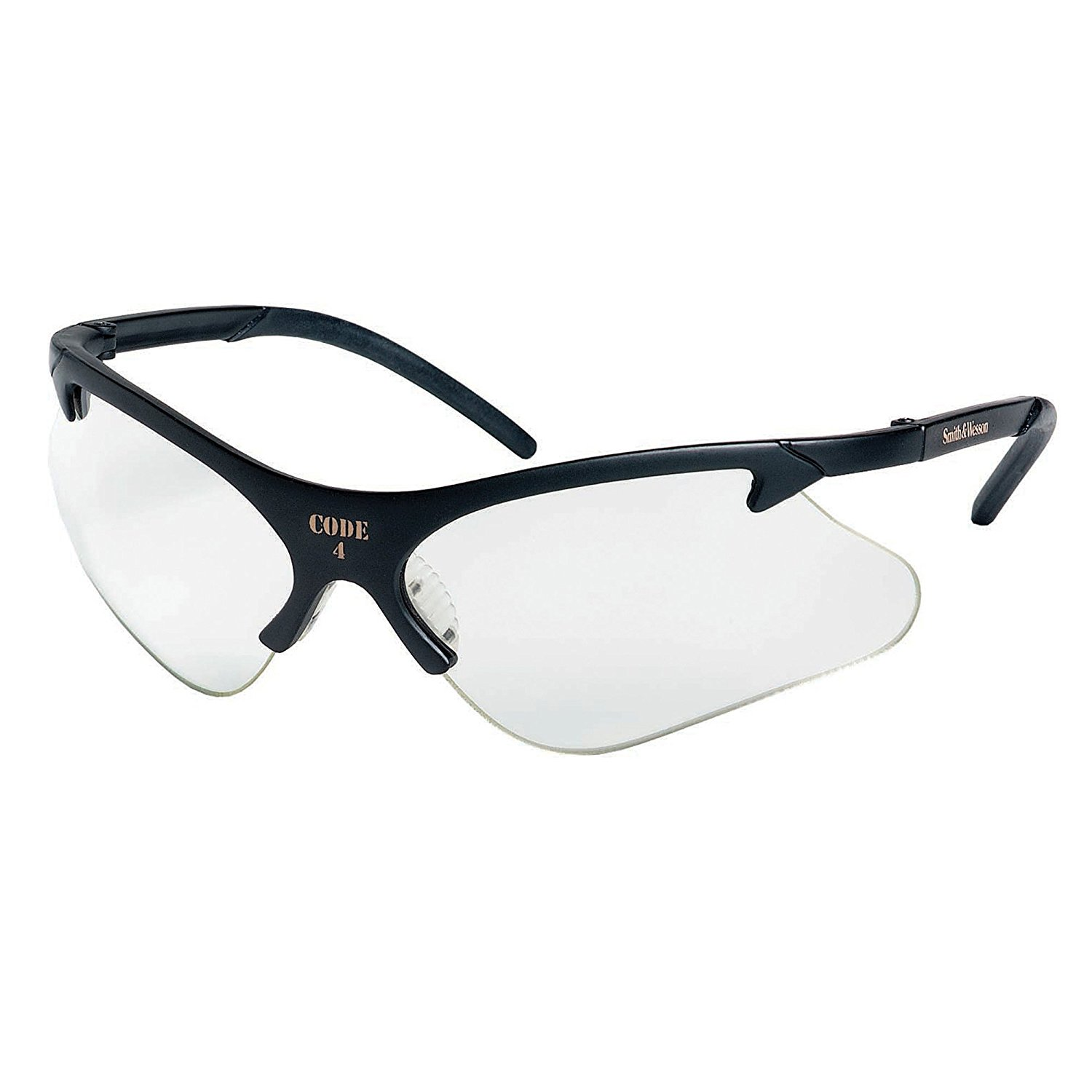 Smith & Wesson 19833 Code 4 Safety Glasses, Clear Lenses with Black Frame, Pack of 12
