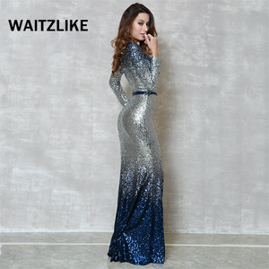 Elegant wine mermaid silver sequin dress 2018 female short gown women's long sleeve maxi dresses