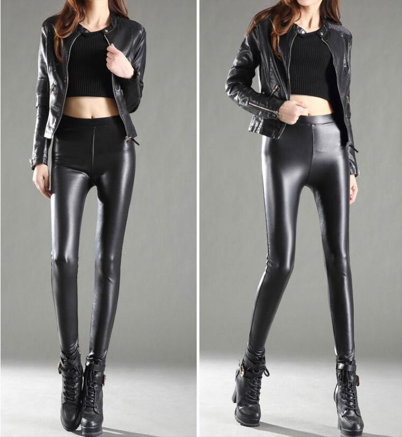 New Fashion Design Brand Name Leggings Sexy High Waist Black Imitation Leather Pants