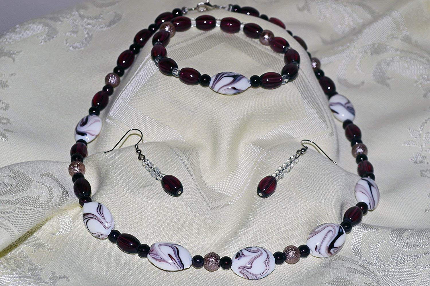 Purple Jewelry Set, Necklace, Bracelet & Earrings Set, Purple Glass Bead Jewelry Set, Ready to Ship!