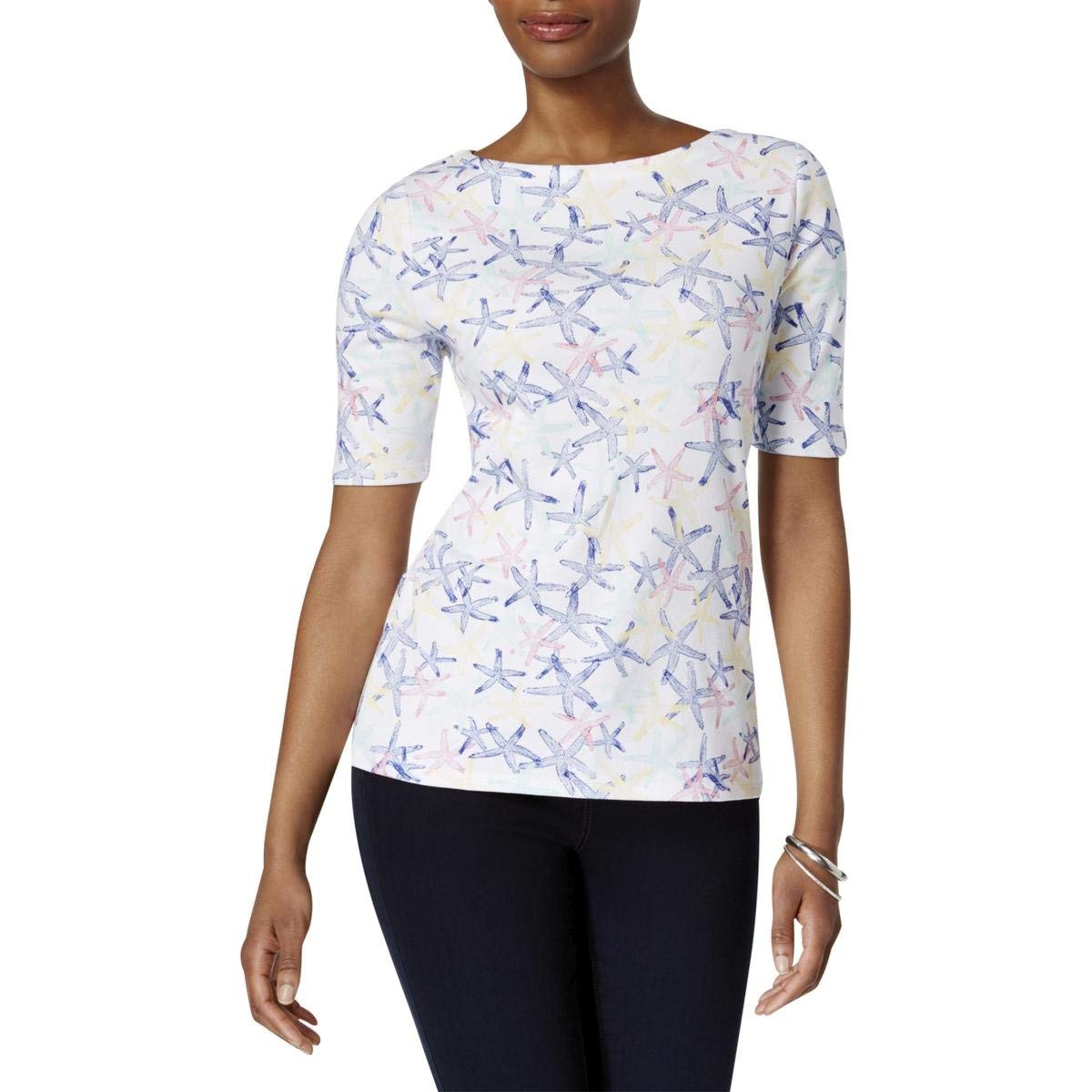Charter Club Cotton Floral-Print Boat-Neck Top