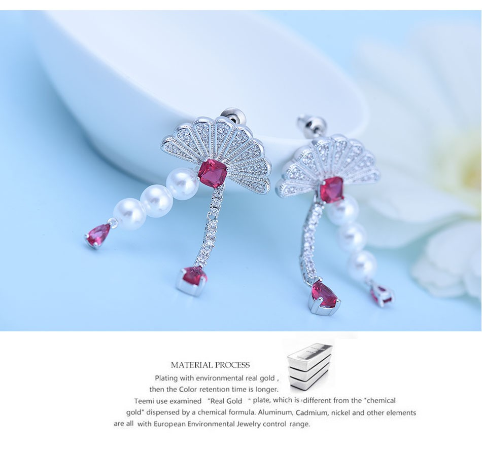 LUOTEEMI New Wholesale Platinum Plated White Pearl Beaded CZ Flower Dangle Bridal Earrings