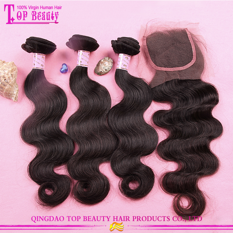 Can custom 100% virgin hair bundles with lace closure body weave 3 bundle brazilian human hair with closure