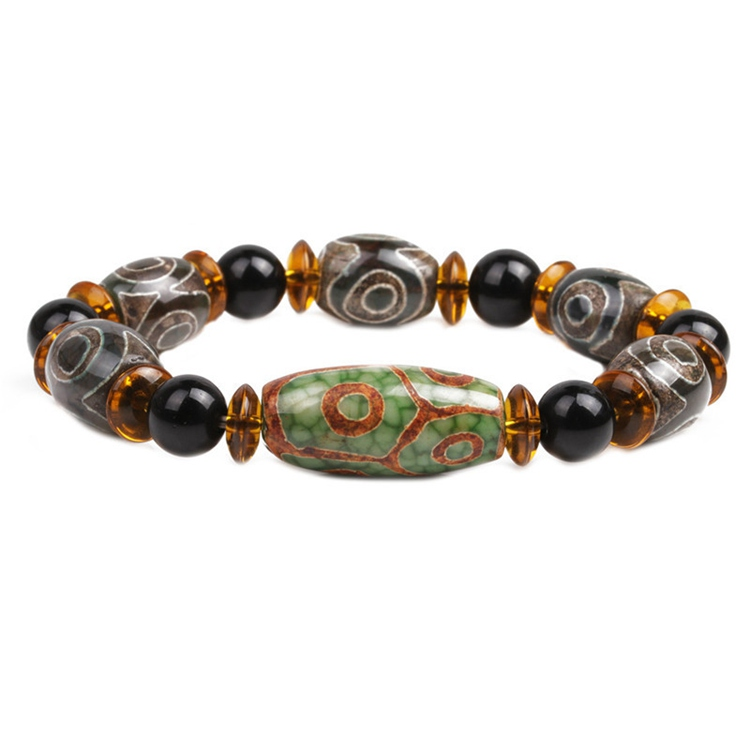 ML-31 Fashion Stone Jewelry Handmade Beads Natural Agate Dzi Bead Stone Bracelet Men