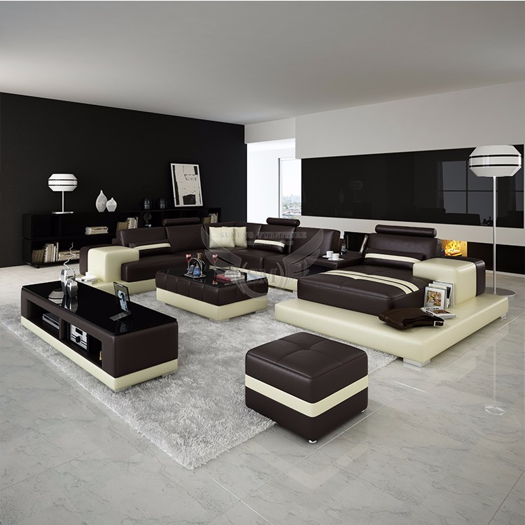 South Africa U shape godrej sofa set designs with LED side table ...
