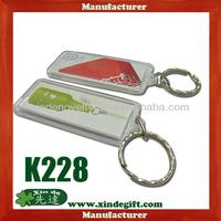 Clear Plastic photo insert keychain, inserto de plastico transparente foto llavero - Color printed paper insert key holder