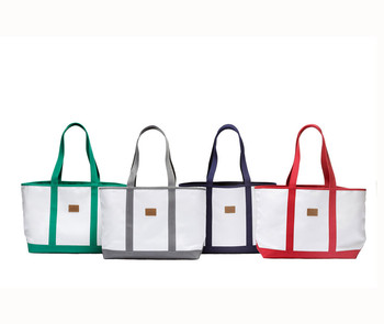 Canvas Tote Beach Bag Shoulder Straps Zippered Pocket