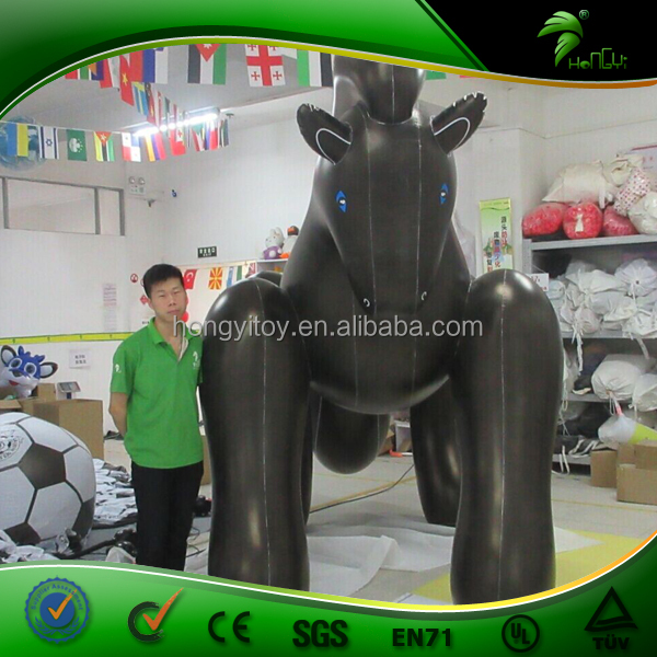 3m Tall Promotional Custom Inflatable Black Horse, Giant Inflatable Animal Horse Cartoon With Blue Eyes
