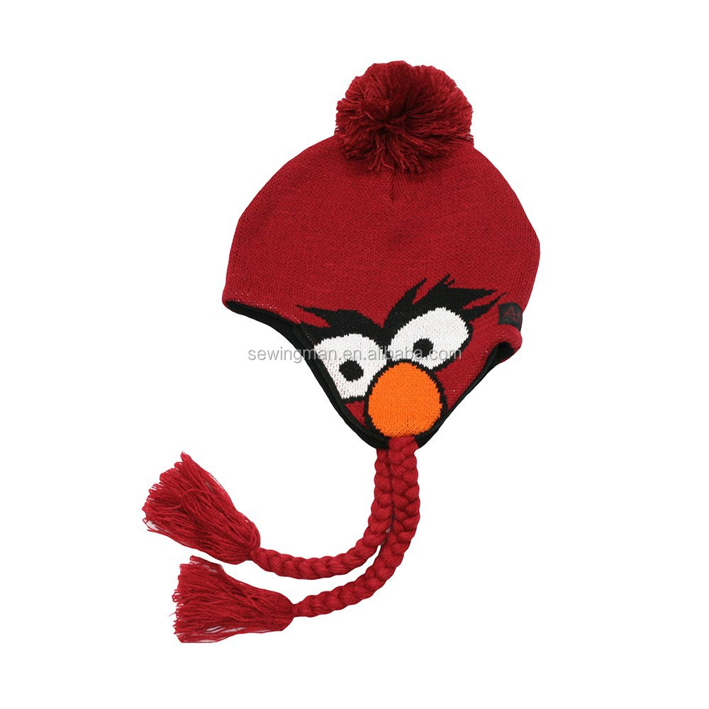 Skiing Hat Wool Bird Knitted Earflap Peruvian Hat Pom Pom Hat