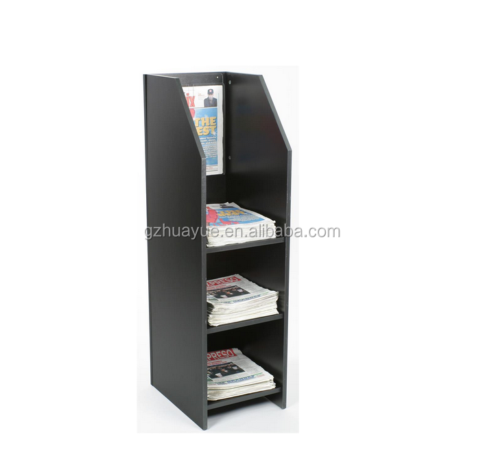 Hot sale 3 tiered newspaper rack for floor, fits tabloid-size papers magazine display rack