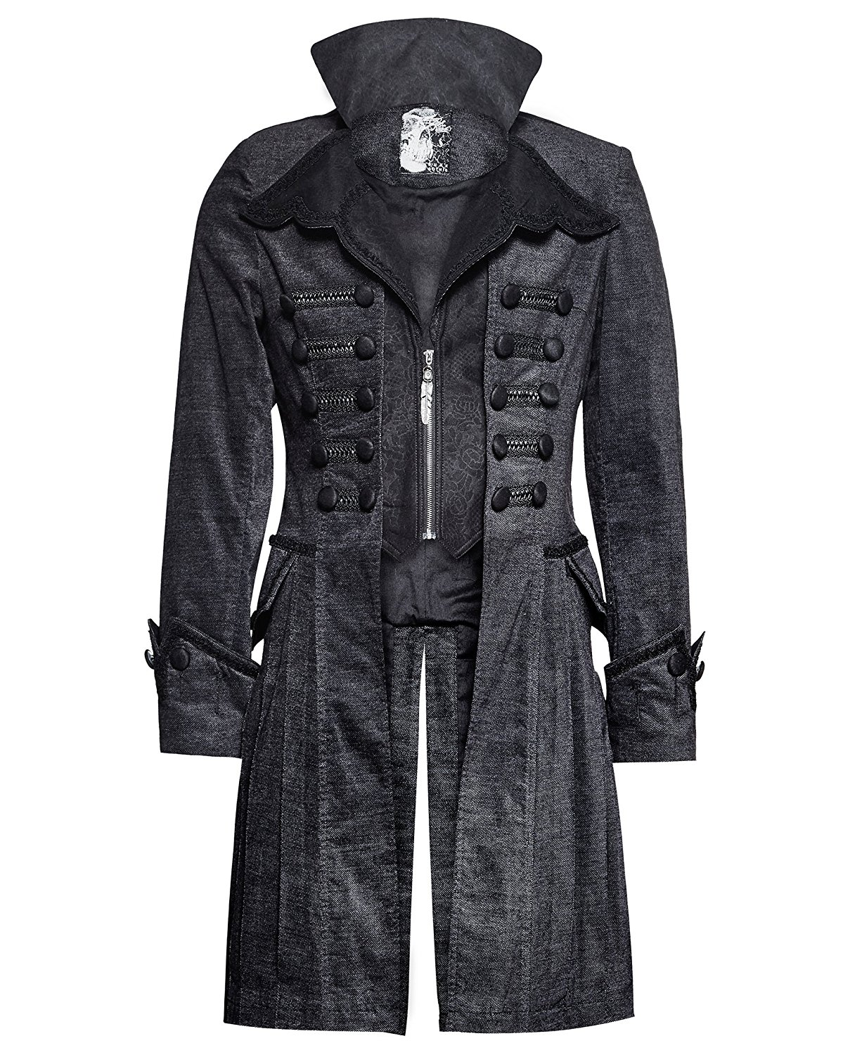 8c16064e Get Quotations · Punk Rave Mens Gothic Steampunk Jacket Coat Victorian  Military Style Winter Vintage CorduroyTrench Coat