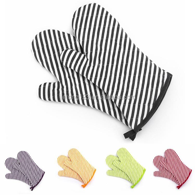 Custom Multicolor Streep Insulated Antislip Handschoen Magnetron Handschoenen Keuken Koken Isolatie Handschoenen