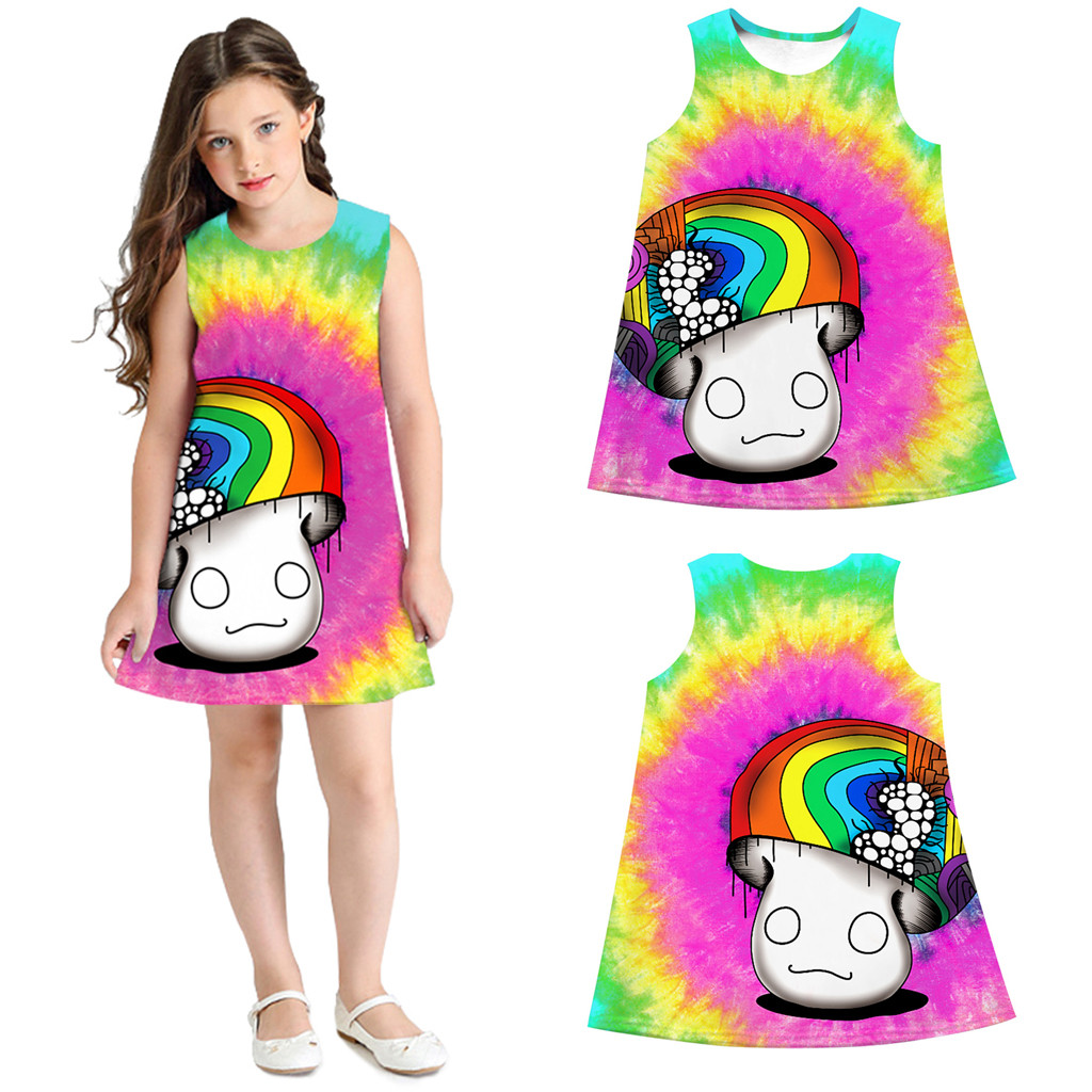 a65f9172e14b4 2019 Baby Girl Summer Clothes Sleeveless 3D Mushroom Print Princess Dress  Girls Costumes Casual Little Girls Dresses La Robe