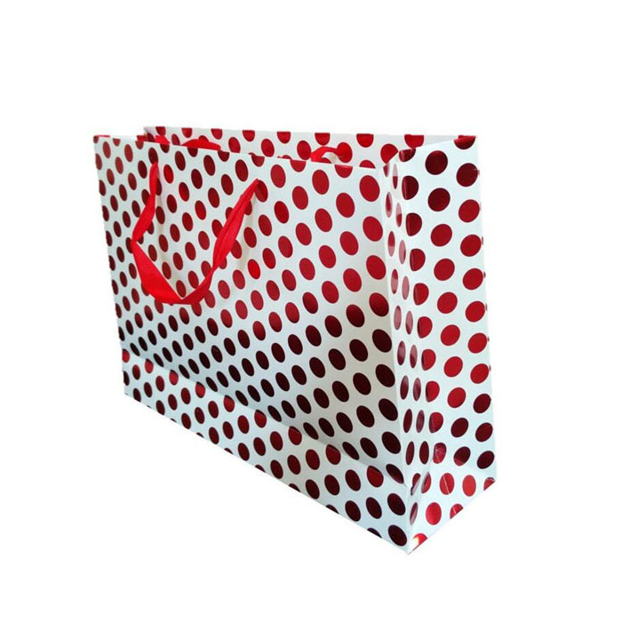 Shiny polka dots gift packaging bags with large size and base card for strenghtening
