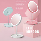 LED Daylight Makeup Mirror Desktop Round Lamp Usb Dressing Mirror Student Folding Portable Mirror Women Beauty Make Up Tool