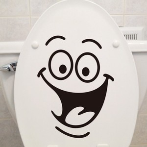 Custom Waterproof Smile Vinyl 3d Wall Stickers For Toilet Decorative
