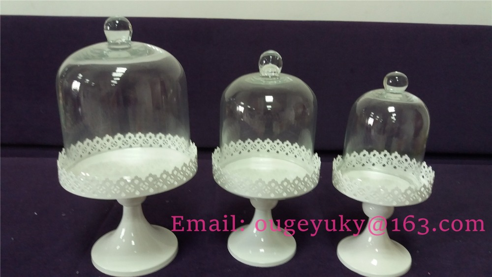 Wholesale metal cake stand with glass cover cup cake stand cheap