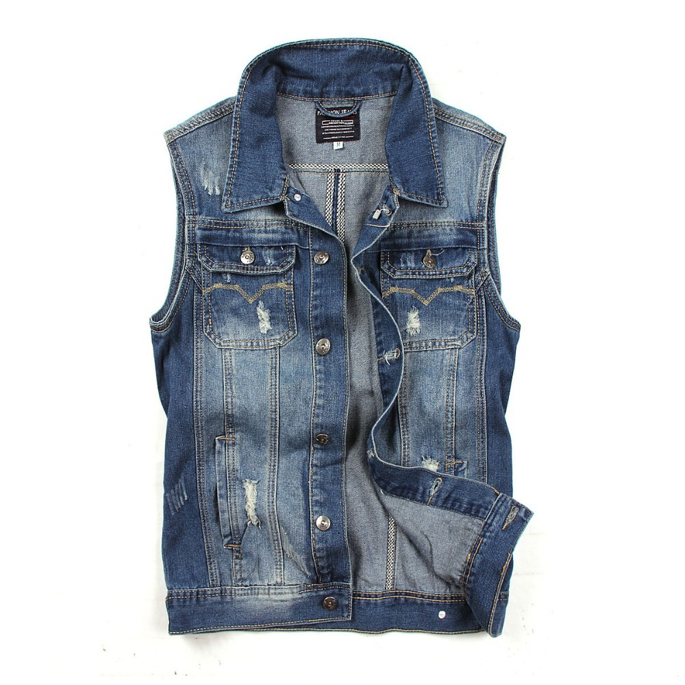free shipping plus size cowboy high quality hot sale washing blue men's denim vest men denim vest tank top with pockets