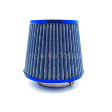 "Universal 3"" 76mm BLUE Air Intake Filter Height High Flow Cone Cold Air Intake Performance"