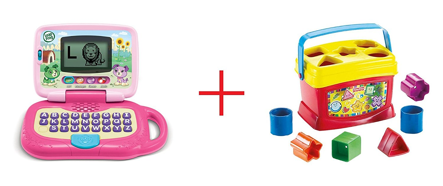 LeapFrog My Own LeapTop - Pink and Fisher-Price Baby's First Blocks - Bundle