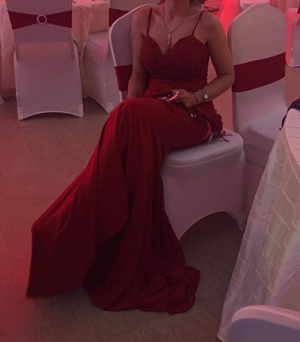 5f2e3fc02 ASAJ-011 muestra Real Sexy espaguetis correas fiesta sin espalda vestido  Borgoña sirena Noche Vestidos