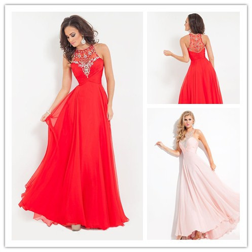 Hot Sale Chiffon Beading Women Formal Dress Long Prom Dresses 2015 Abendkleider Red Party Gowns Imported China