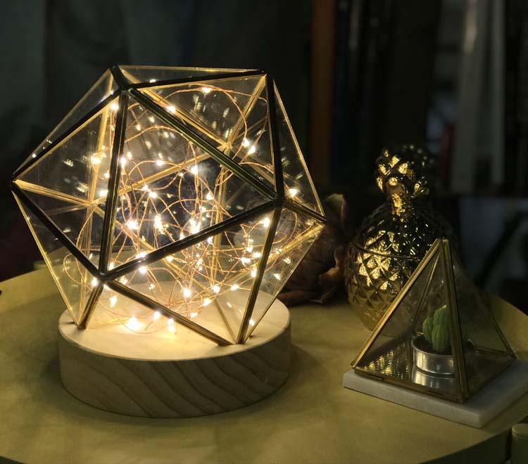 Creative gift Xmas decorative glass dome cover hanging geometricfire tree silver flower light night light