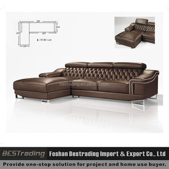 Superieur Solid Wood Frame Leather Sectional Sofa