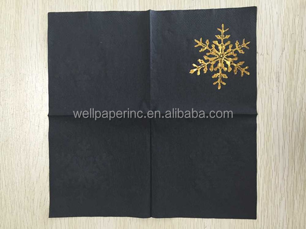 Both sides are black black colored paper napkin