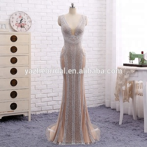 V Neck Skin Color Sexy 2018 Pearls Diamond Evening Dress New Women's Special Occasion Dress