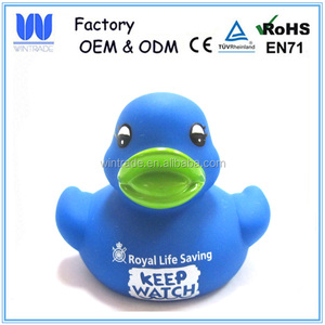 Custom rubber blue duck printed logo plastic mini duck gift