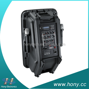 HONY best model two wireless microphone active pa 12v dc power speaker