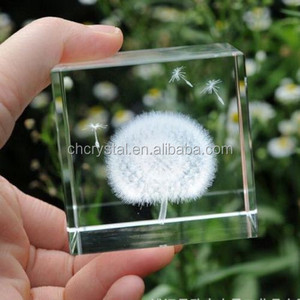 Dandelion Paperweight Crystal Cube 3D Dandelion MH-TF0152