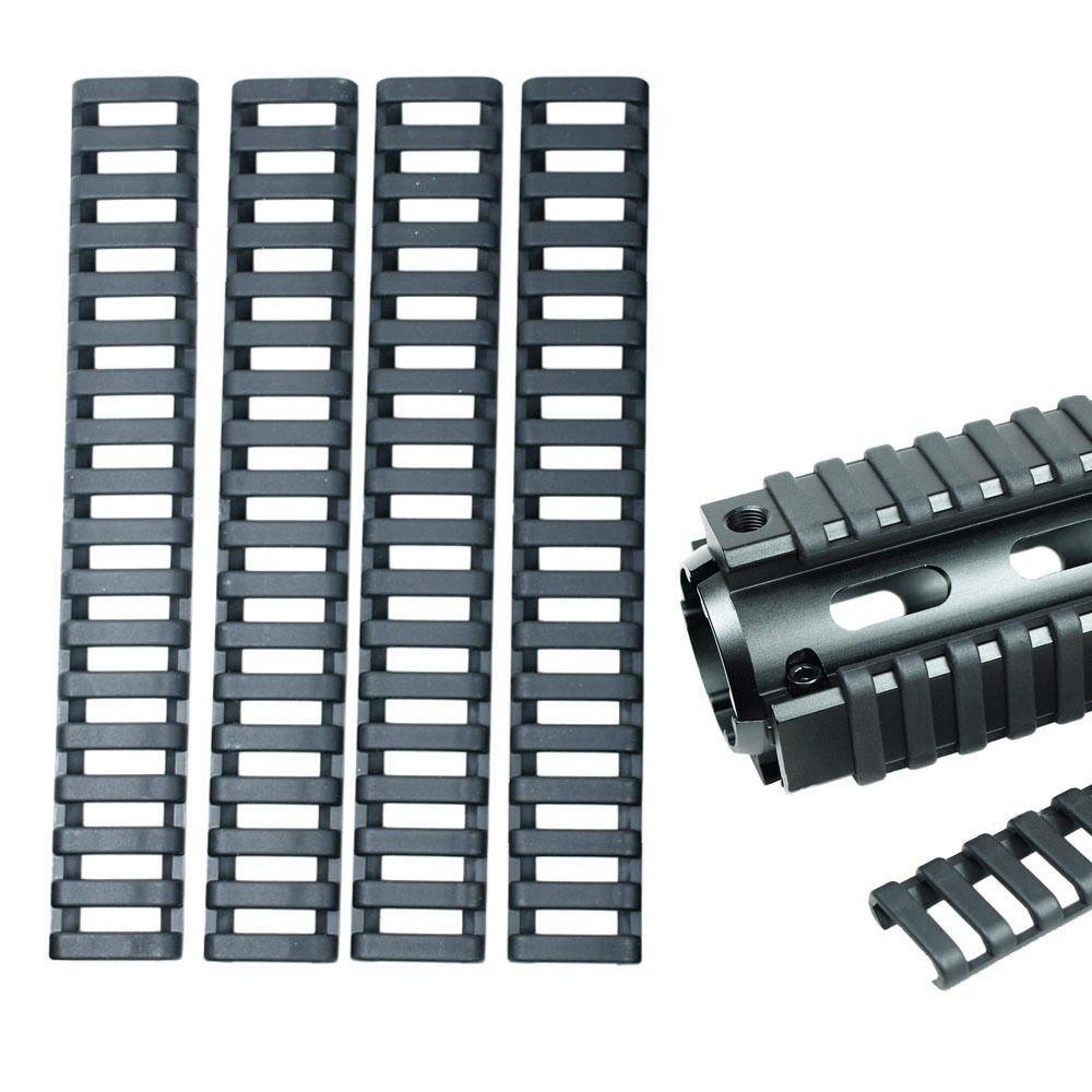 8PCS Rifle Ladder Panel 18-Slot Picatinny Weaver Rail Low-Profile Rubber Cover