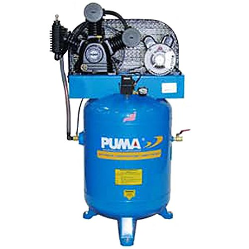 Puma Industries TE-3040V Air Compressor, Professional/Commercial/Industrial Two Stage Belt Drive Series, 3 hp Running, 175 Maximum psi, 230/1V/Phase, 40 gal, 260 lb.