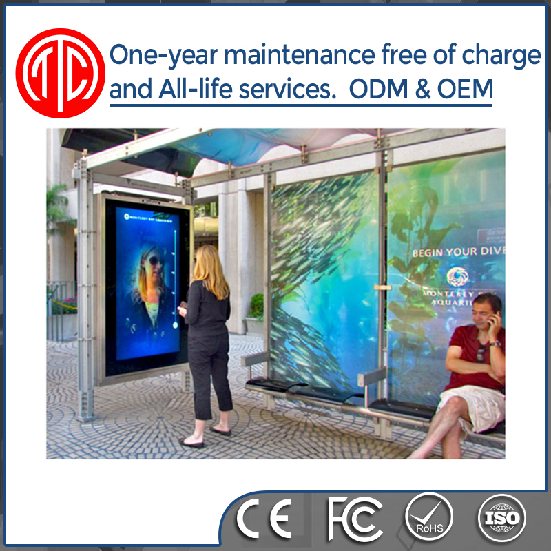 "46"" 55"" 65"" floor stand alone out door bus station digital signage"