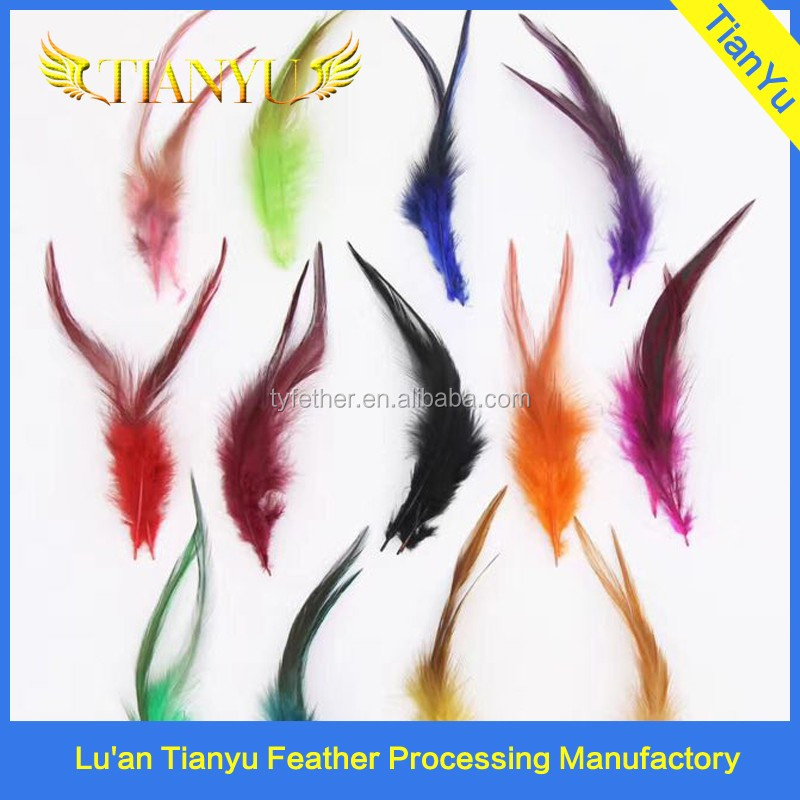 factory Wholesale Bulk Cock Plume Fringe Directly Dyed Green Rooster Neck Hackle Feathers Trimmings