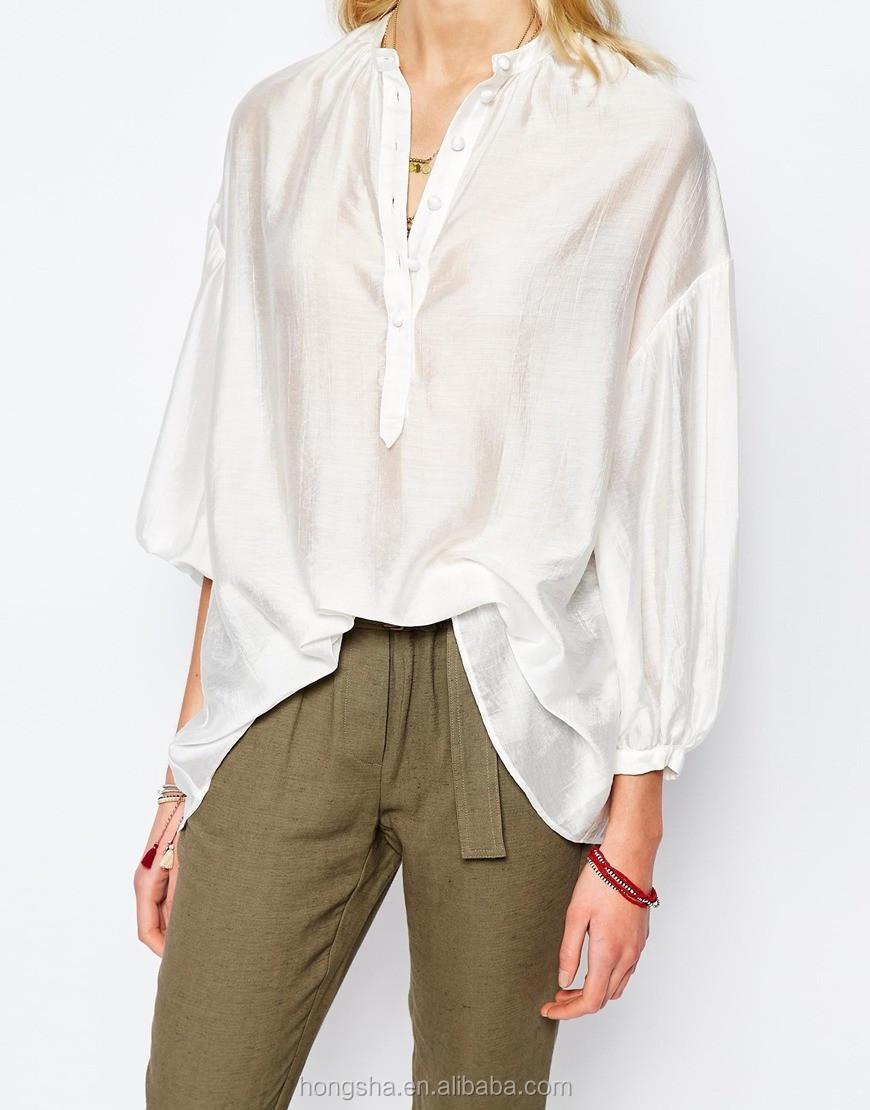 witte blouses lange mouw