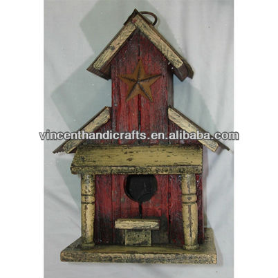 Rustic antique distressed wooden bird house with rust star garden hanging wood birdhouse
