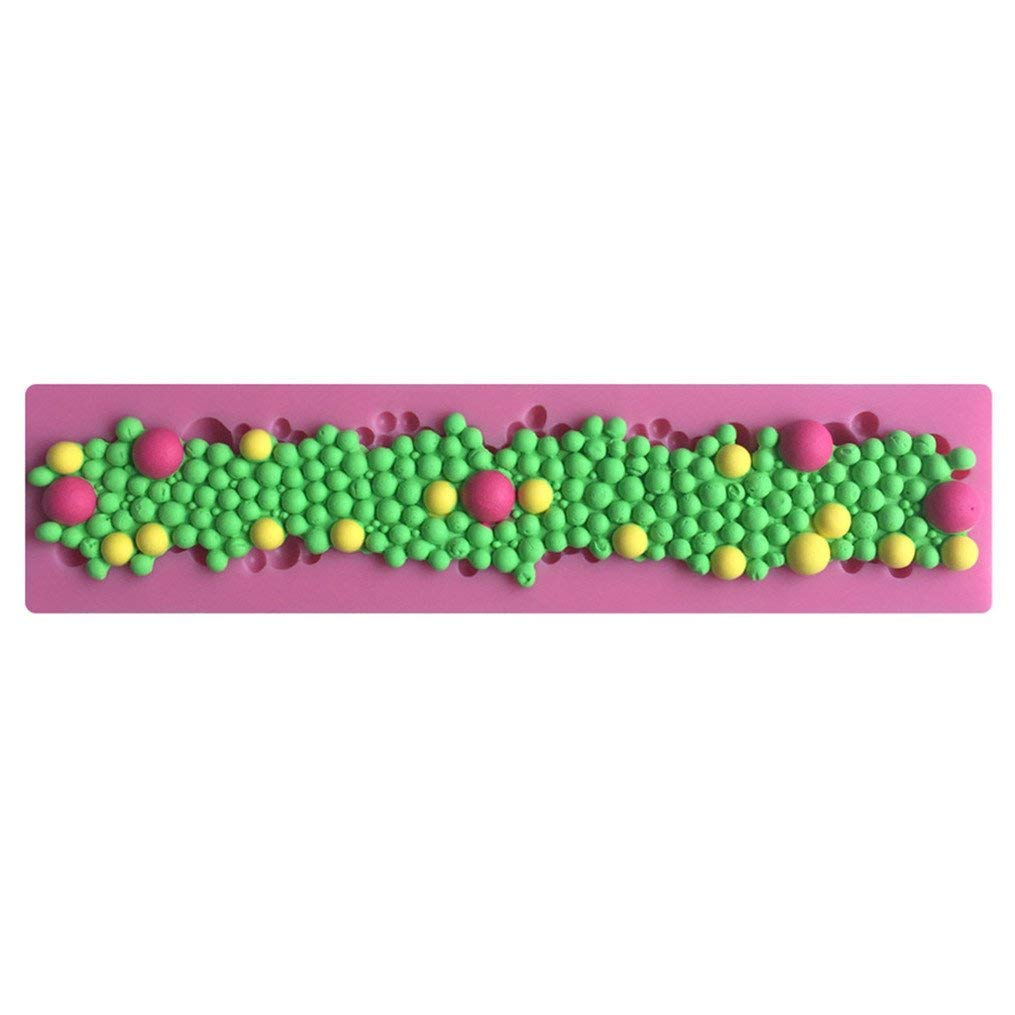 FLY Silicone Chocolate Fondant Cake Decorating Round Pearls Bubbles Mold Mold Sugarcraft Decorating Tool,Pink