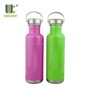 Standard Mouth Single Wall Colorful Stainless Steel Reflect Bottle Bamboo Lid Twist Cap Drinking Sport Water Bottle