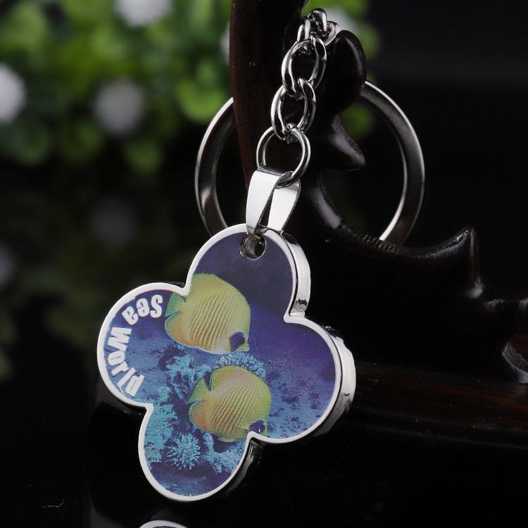 Source manufacturers Customized high quality zinc alloy die casting Color spray pattern Underwater world keychain