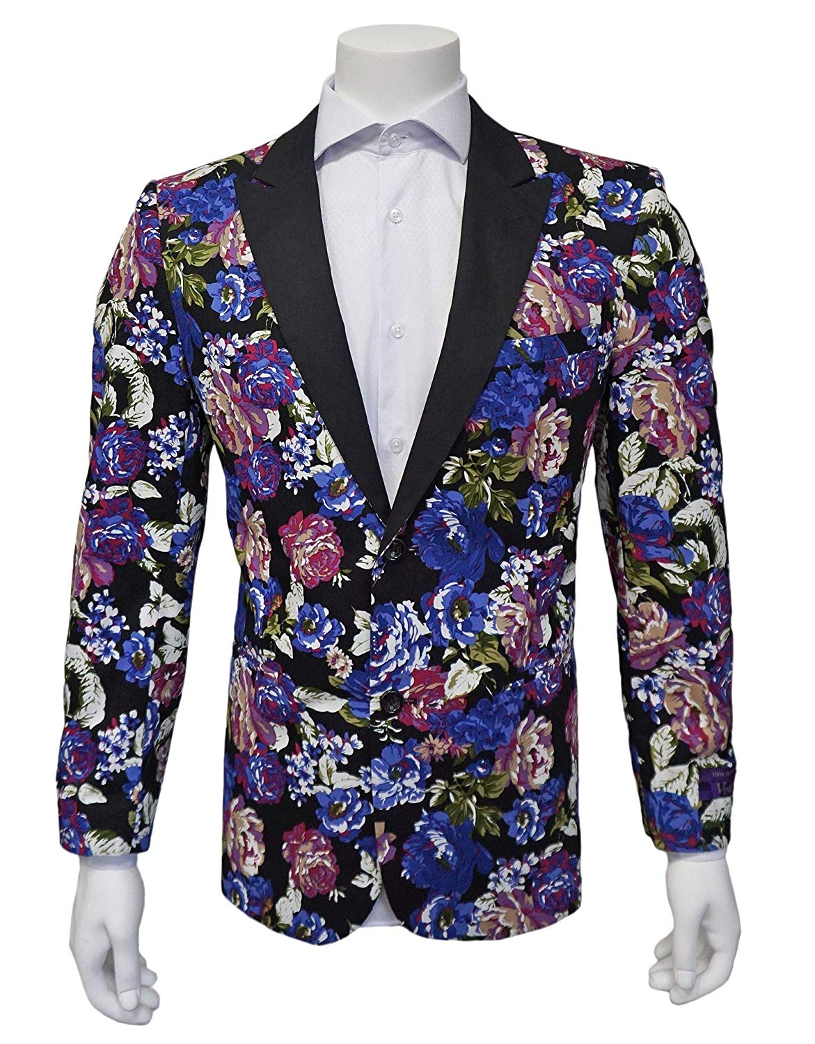 M/&S/&W Mens Floral Print Blazer Coat Two Button Slim Fit Dress Coat