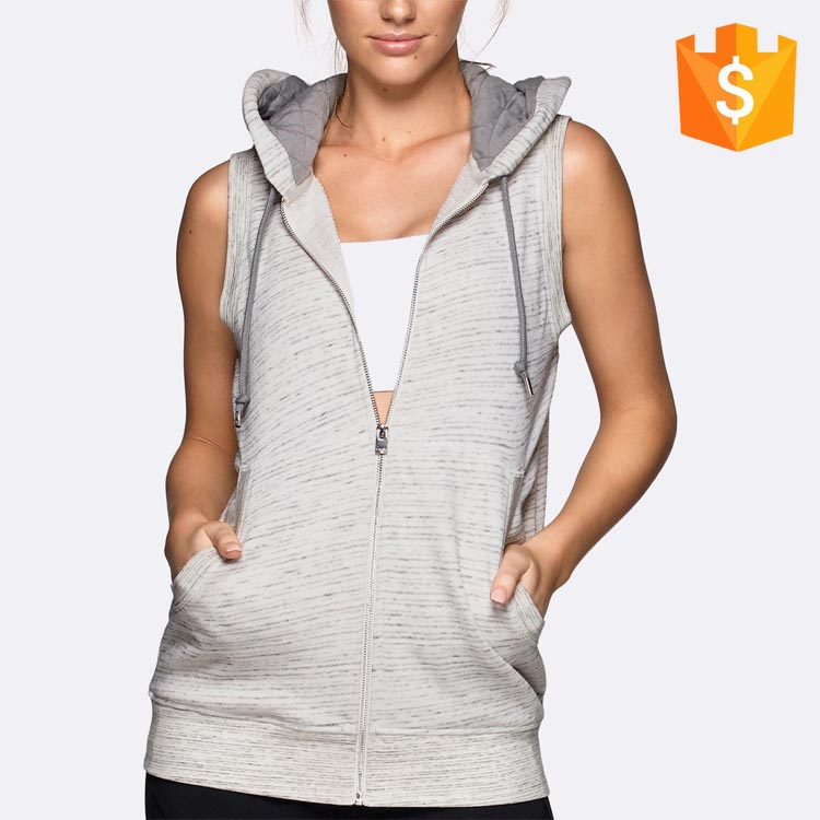 Anti pilling zip through front twin pouch pockets sleeveless hoodies for women