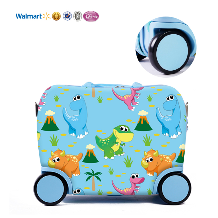 oem manufacture cartoon best quality <strong>abs</strong> 4 wheels travelling16inch kids ride on suitcase